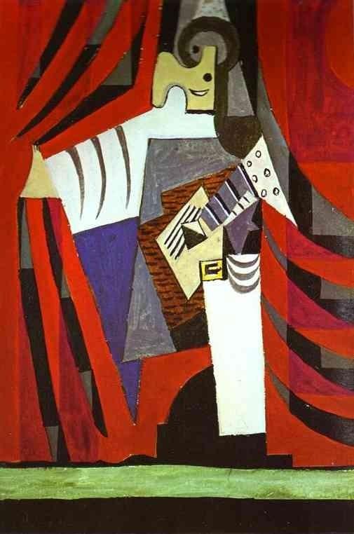 Пабло Пикассо. Полишенель с гитарой перед занавесом