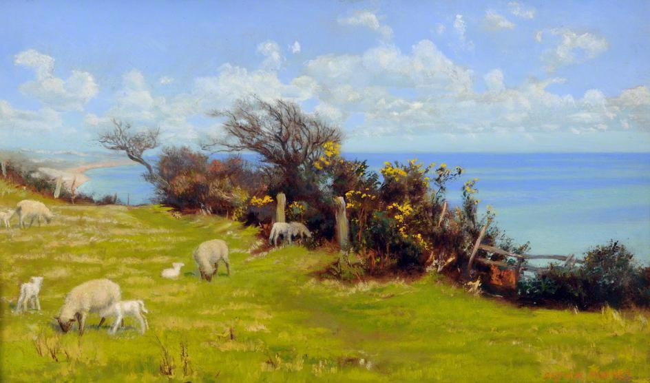 Arthur Hughes. Spring pasture, Cornwall