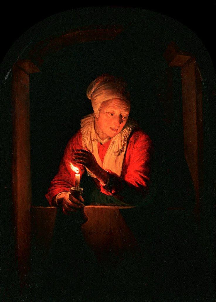 Геррит (Герард) Доу. Старуха со свечой