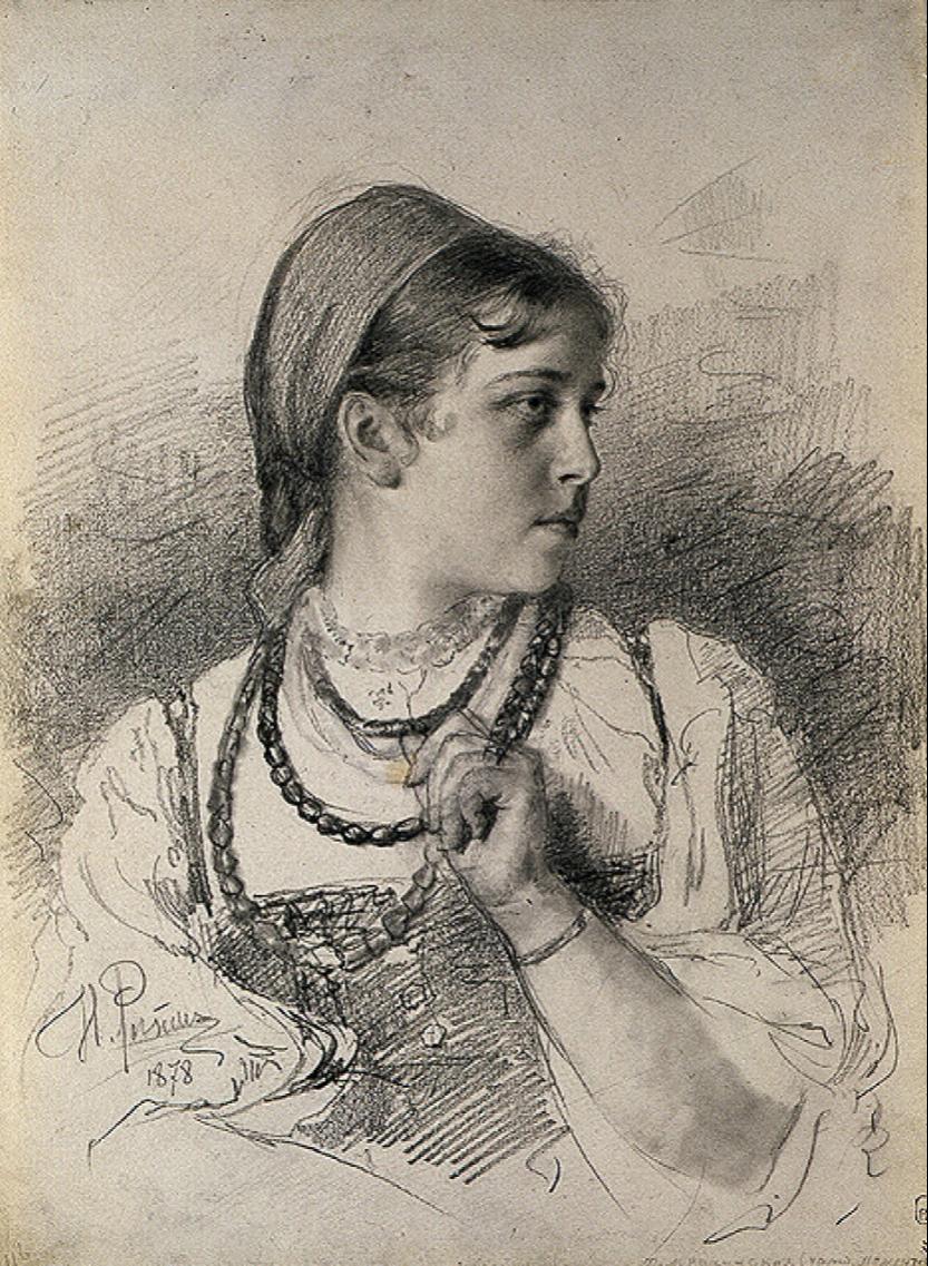 Ilya Efimovich Repin. Portrait of Tatyana Anatolyevna Mamontova (Rachinsky). State Russian Museum, St. Petersburg.