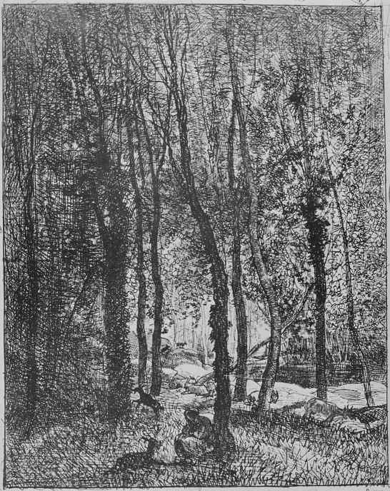 Charles-Francois Daubigny. Shepherdess with goats