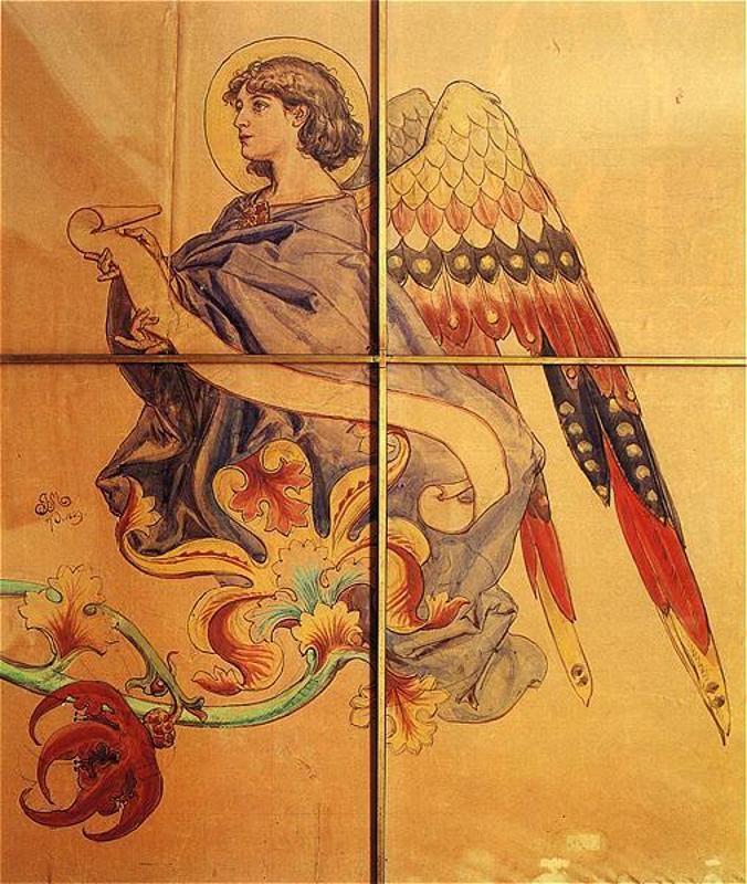 Ян Матейко. Ангел со свитком на цветке. Эскиз росписи церкви Святой Марии