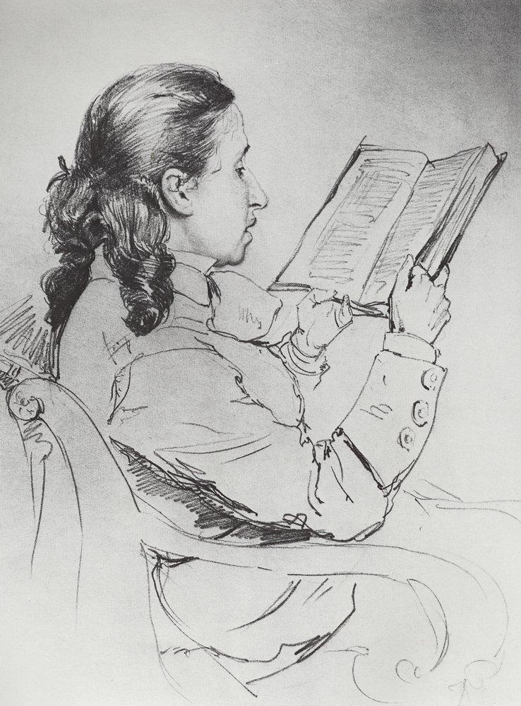 Ilya Efimovich Repin. Portrait of E. G. Mamontova reading
