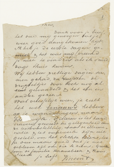 Vincent van Gogh. Letter from Vincent to his brother Theo. 29 Sep 1872