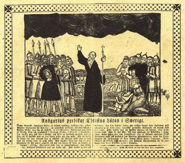 Нильс Эрик Лундстрём. Святой Ансгар проповедует христианство в Швеции