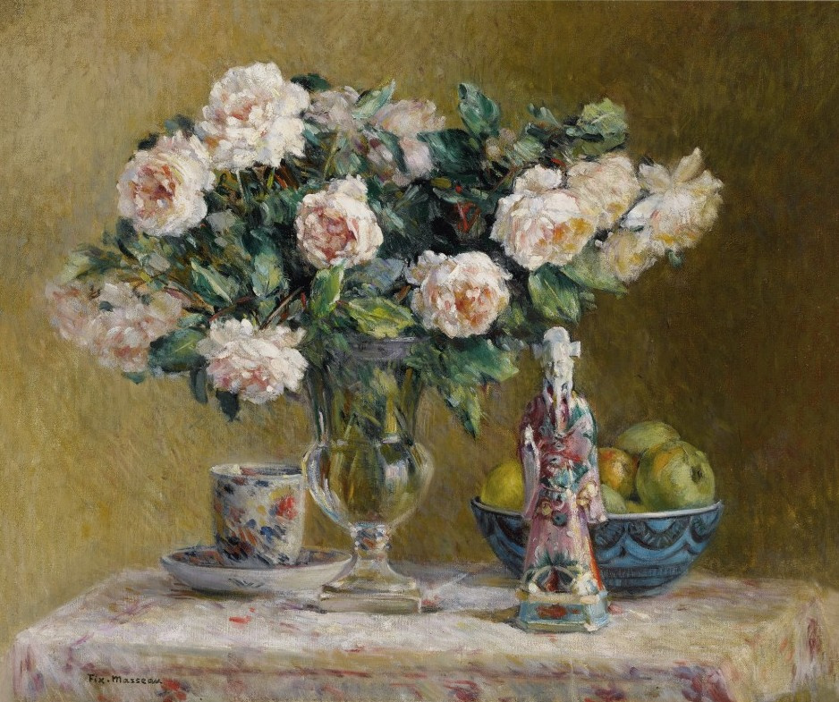Pierre-Felix Fix-Masso. Still life with roses and a chinese courtier