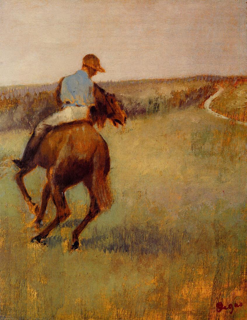 Edgar Degas. Jockey in blue on a Bay horse