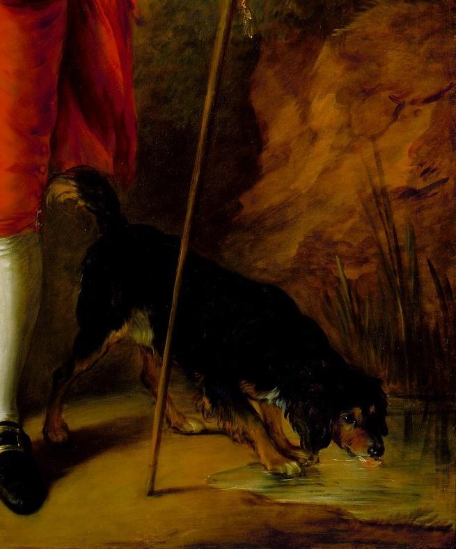 Thomas Gainsborough. The honourable Richard savage Nassau de Zuylestein with his dog. Fragment