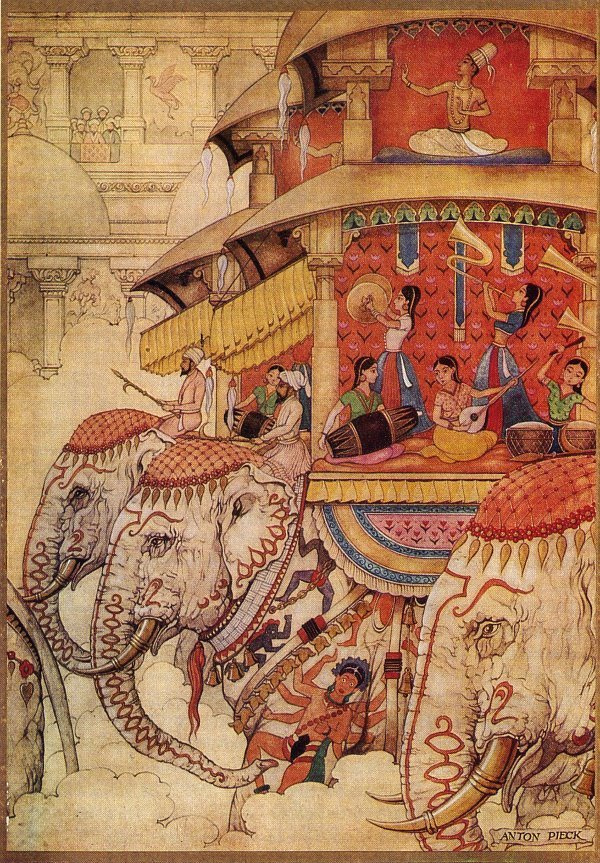 "Anton Pieck. ""The book of the thousand and one nights"". The tale of Princess Nur-al-Nijar"