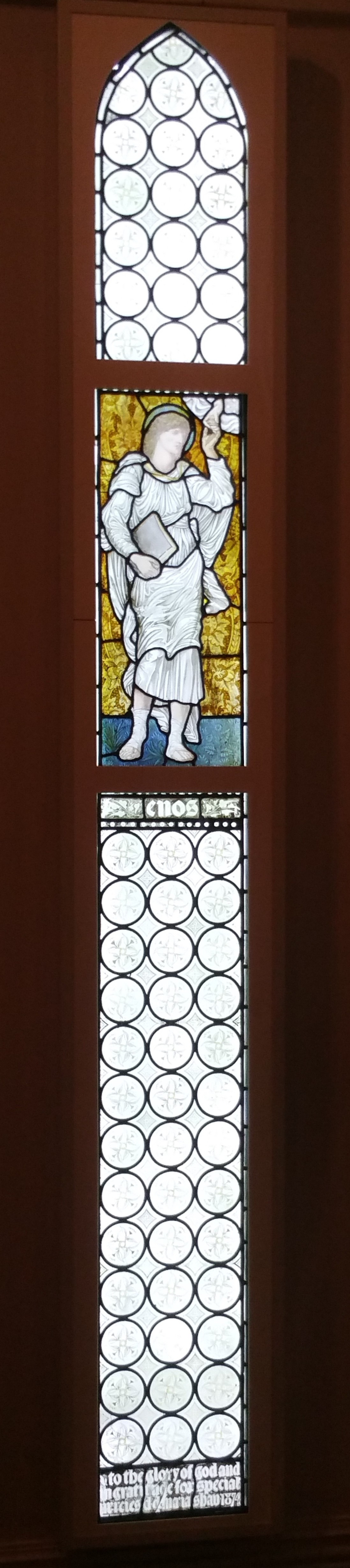 William Morris. Angel with a book. Stained glass window in the gallery of William Morris in London