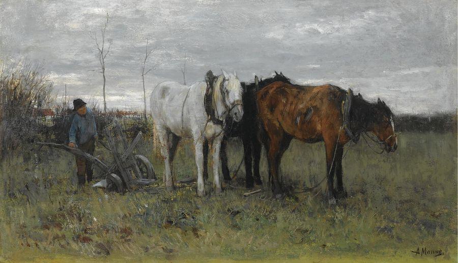 Anton Maouve. Plowing farmer