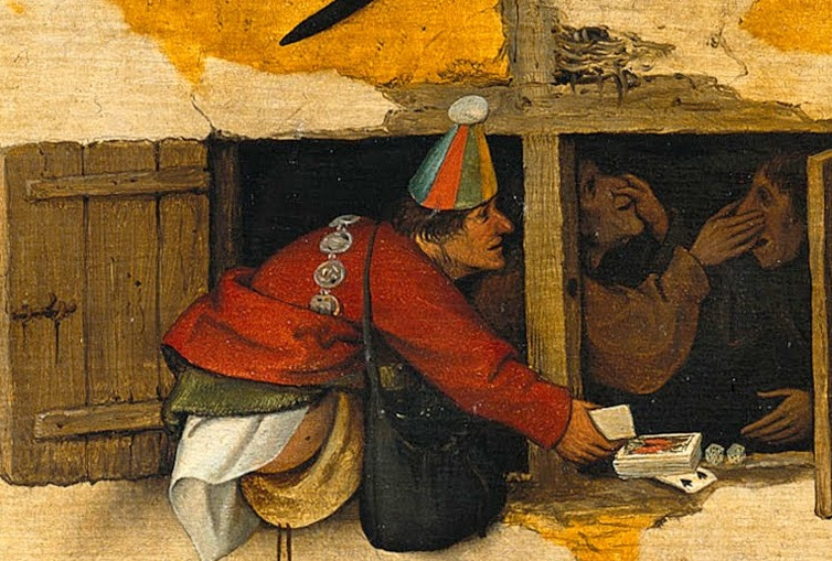 Pieter Bruegel The Elder. Flemish proverbs. Fragment: Fools go card - stupidity can overcome the mind