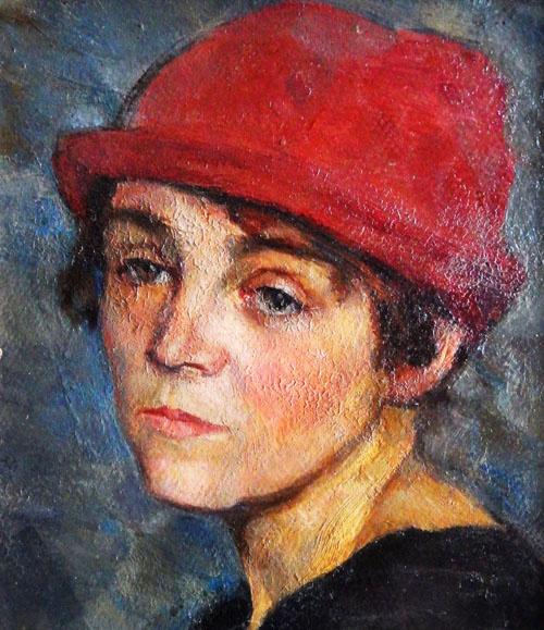 Владимир Александрович Горб. Портрет женщины в красной шляпке