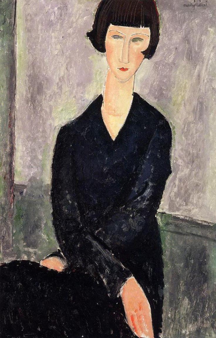 Amedeo Modigliani. A woman in a black dress