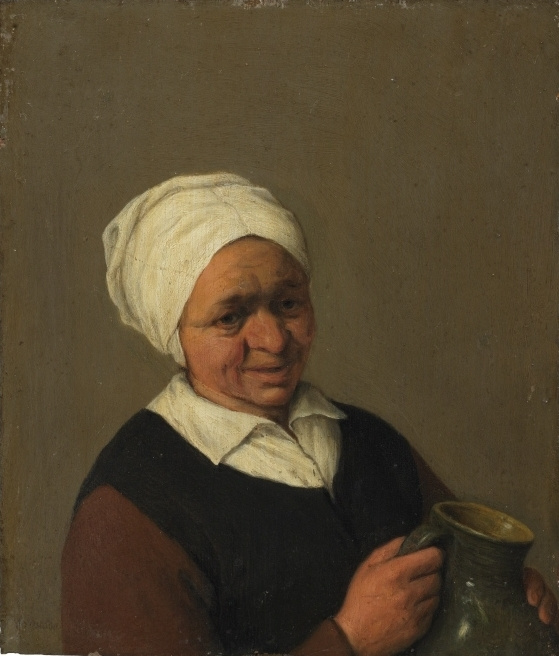 Adrian Jans van Ostade. Old peasant woman with a jug (the authorship is not proven)