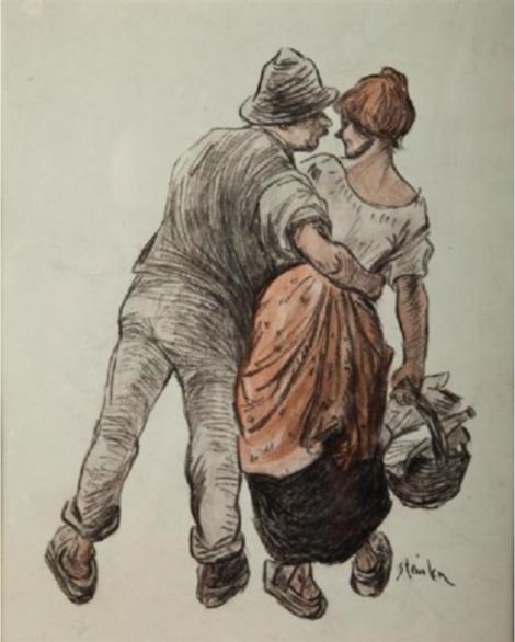 Theophile-Alexander Steinlen. Flirting. Peasant couple