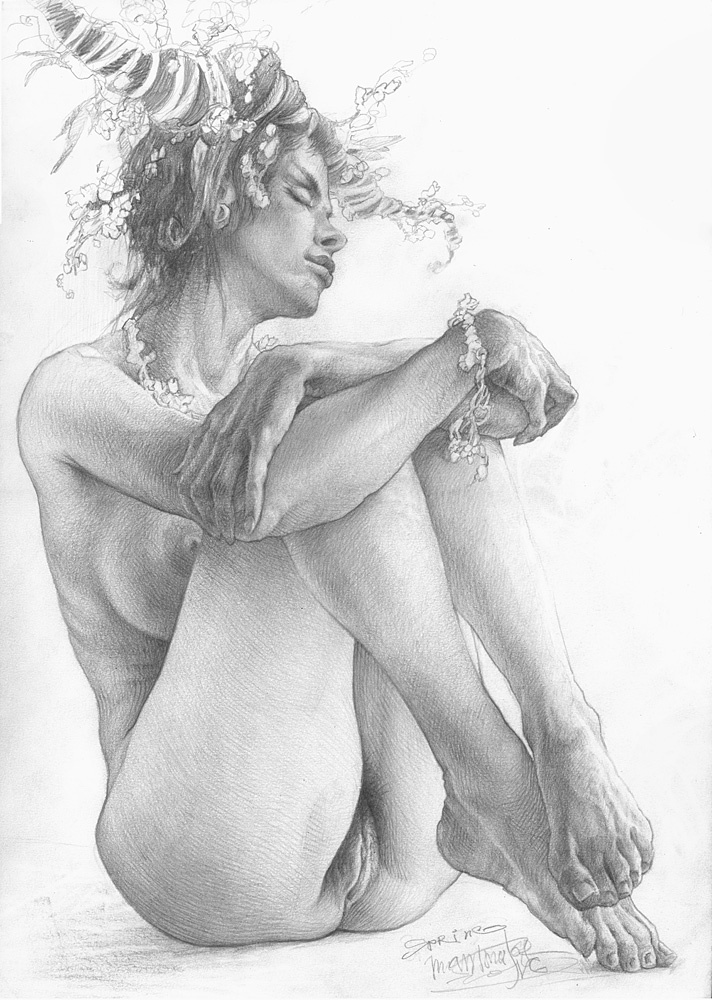Drawn naked angels