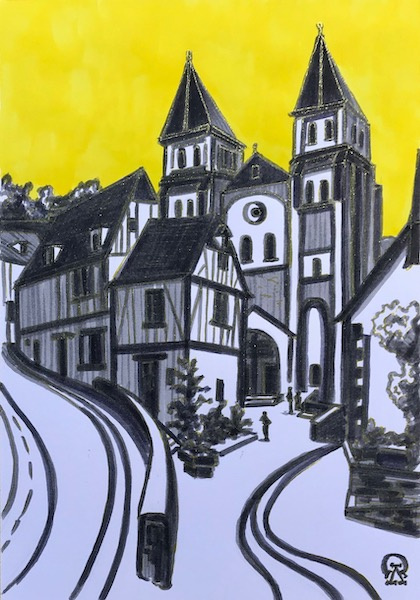 Larissa Lukaneva. German town. Sketch.