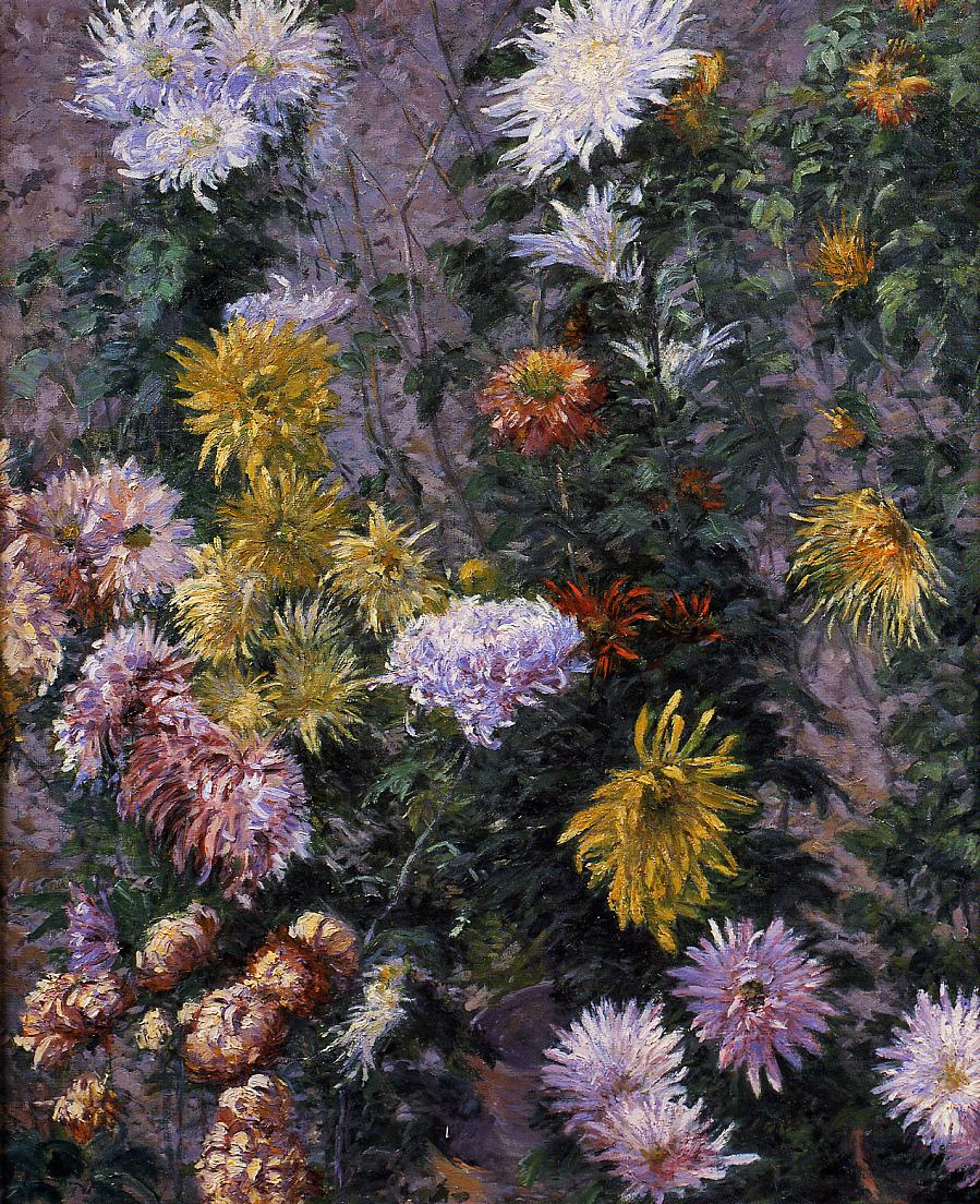Gustave Caillebotte. White and yellow chrysanthemums in the garden
