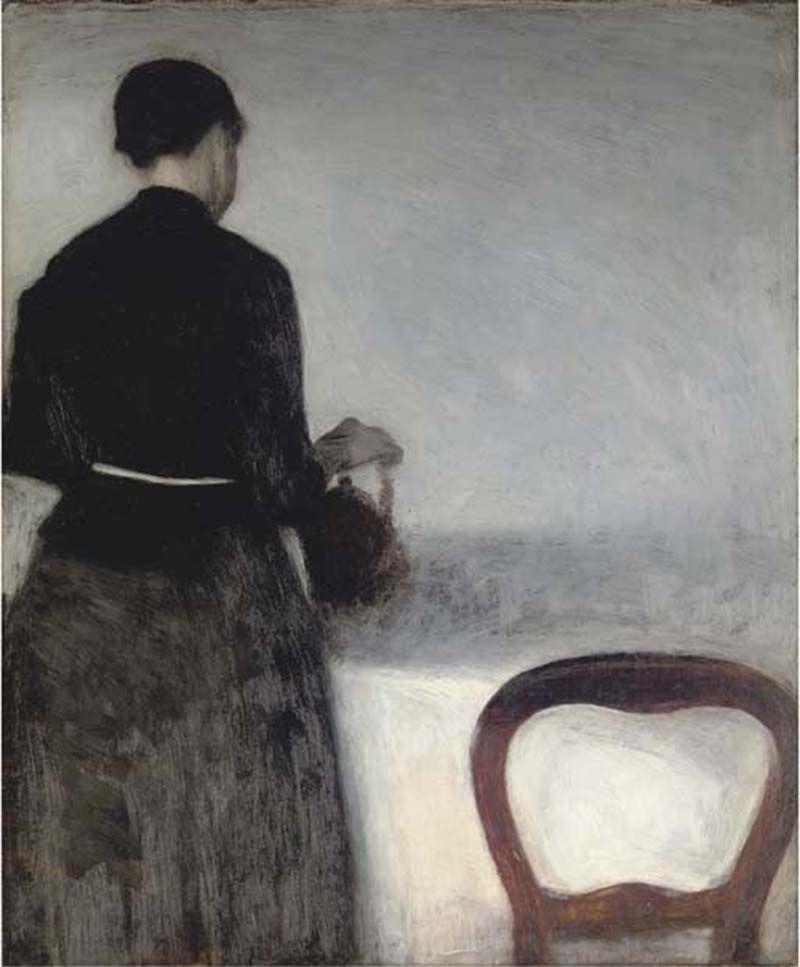 Вильгельм Хаммерсхёй. Молодая женщина, наливающая чай (Портрет сестры художника)