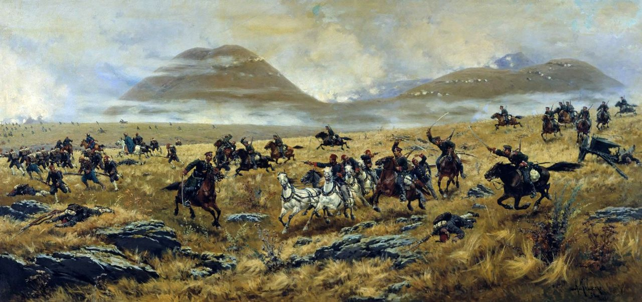 Алексей Данилович Кившенко. Нижегородские драгуны, преследующие турок по дороге к Карсу во время Аладжинского сражения 3 октября 1877 года