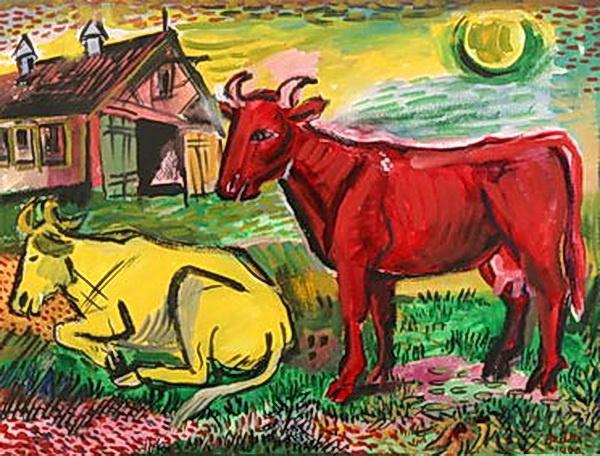 Давид Давидович Бурлюк. Красная и желтая коровы