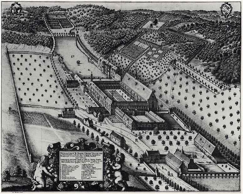 Венцель Холлар. Вид монастыря с птичьего полета