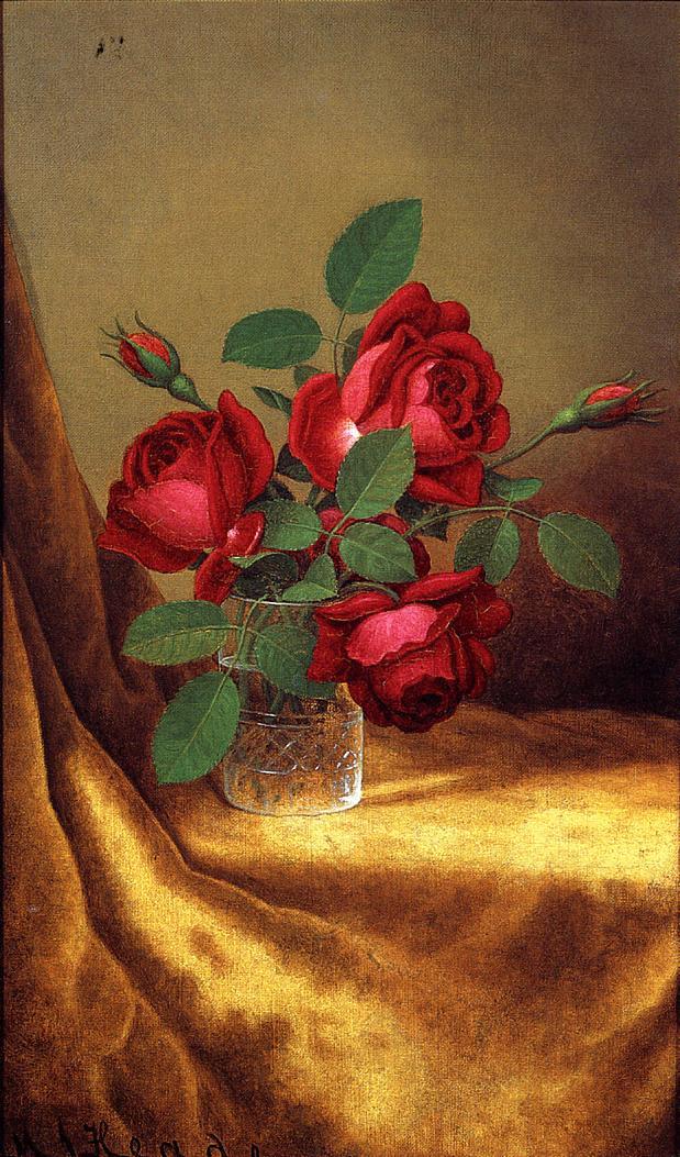 Martin Johnson Head. Red roses in a crystal glass on golden velvet