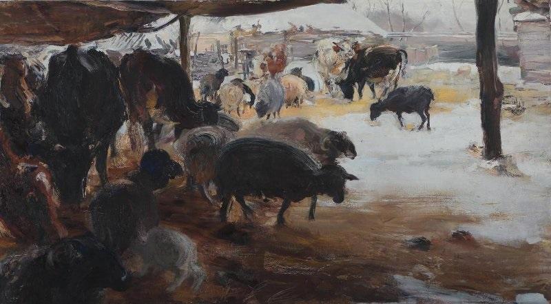 Семен Гавриилович Никифоров. Скотный двор зимой