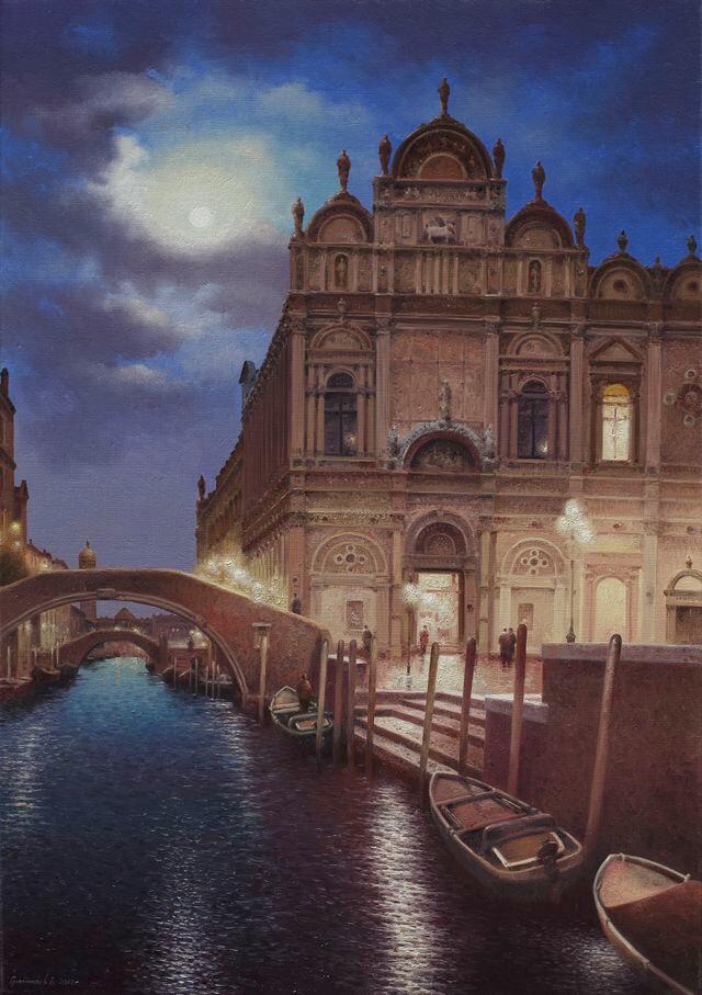 Vasily Ivanovich Gribennikov. Moonlight night. Venice