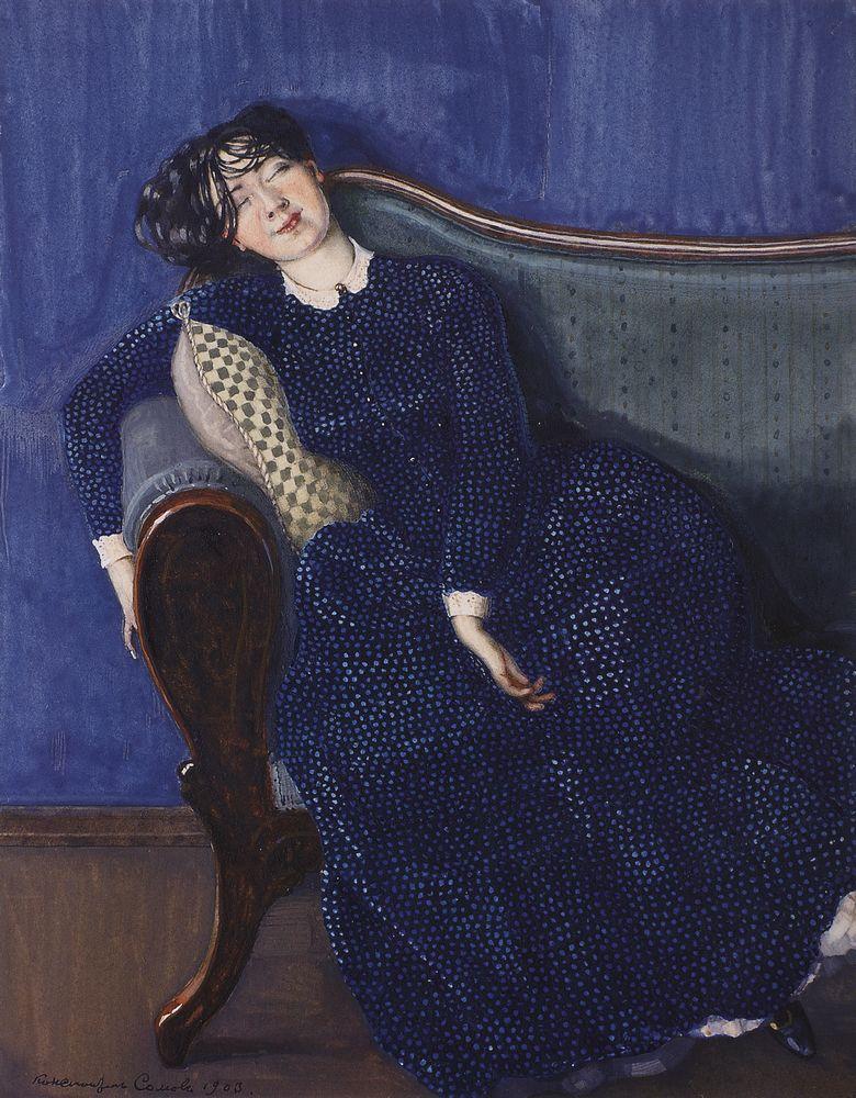 Константин Андреевич Сомов. Спящая женщина в синем платье
