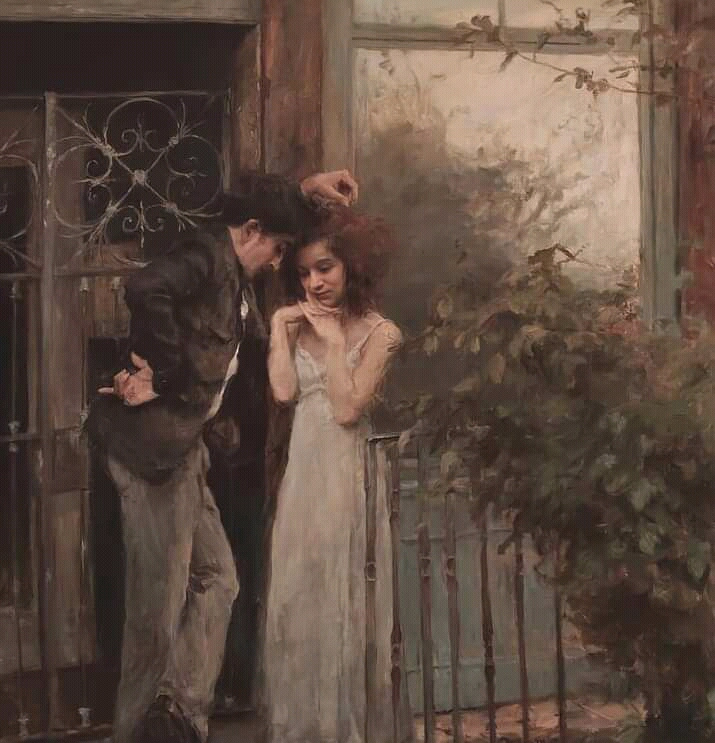 Rume Ogane. Oil painting of lovers in love