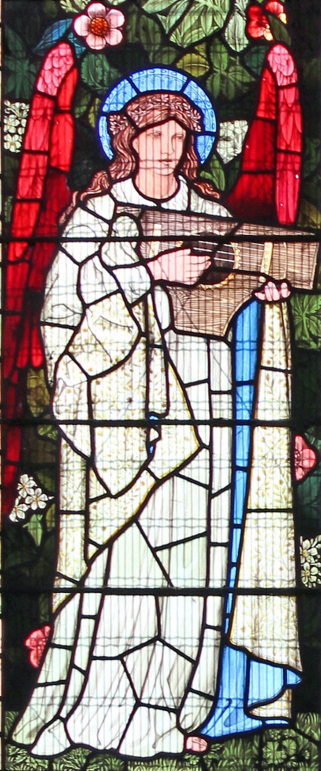 William Morris. Angel with cymbals. Window of the Church of St. Nicholas in Halvud. Fragment