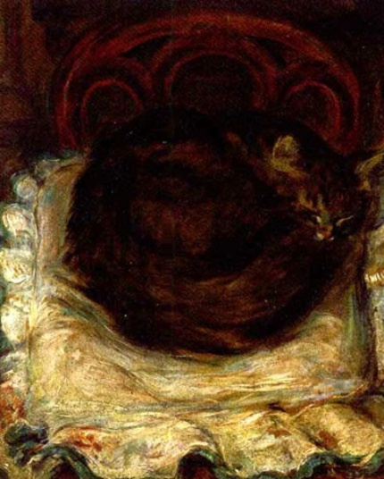 Theophile-Alexander Steinlen. Curled up sleeping cat