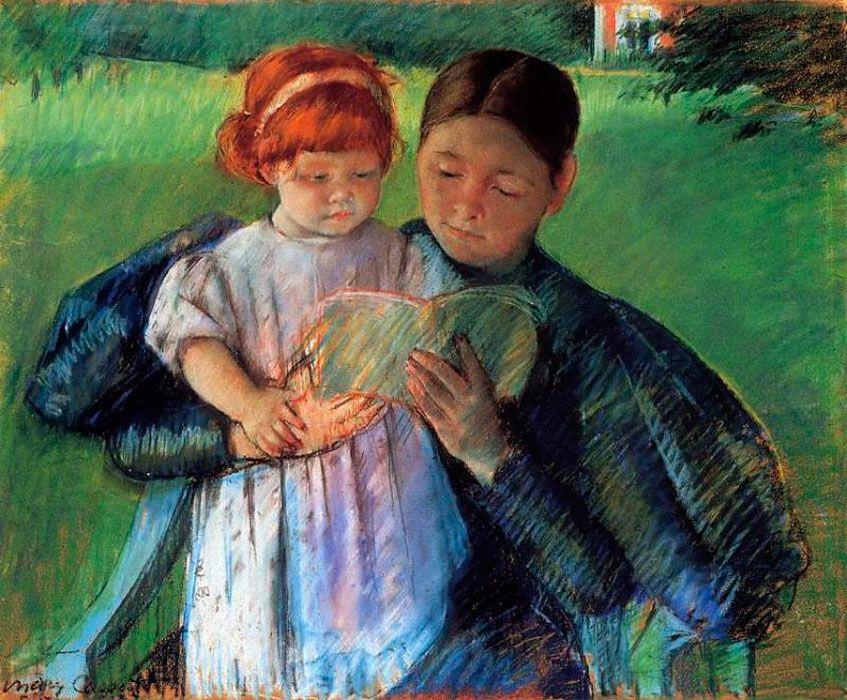 Мэри Кассат. Няня, читающая маленькой девочке