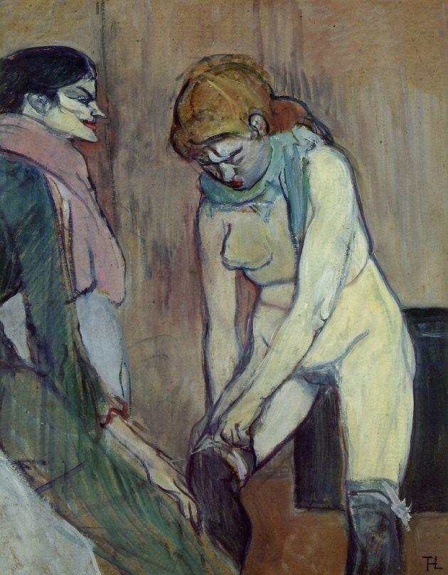 Анри де Тулуз-Лотрек. Женщины тянущая вверх чулок