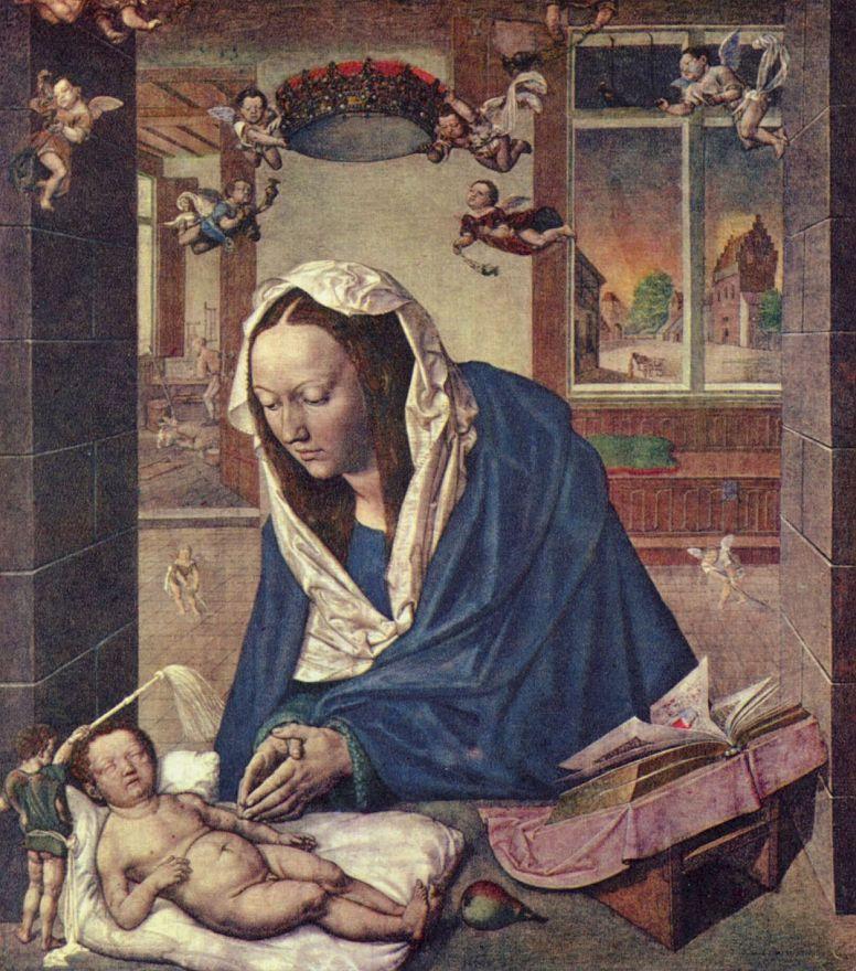 Альбрехт Дюрер. Алтарь Девы Марии, средняя часть, сцена: Мария с младенцем