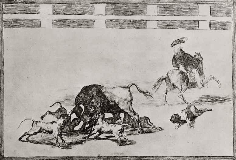 """Франсиско Гойя. Серия """"Тавромахия"""", лист 25: Травля быка собаками"""