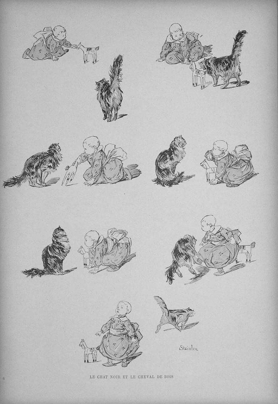 Theophile-Alexander Steinlen. Cats: pictures without words. A living cat or a wooden horse