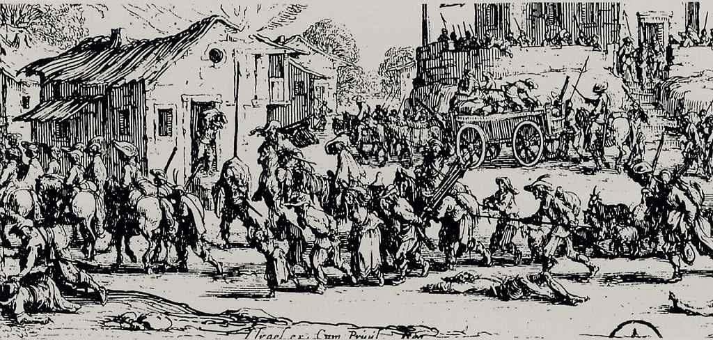 Жак Калло. Разграбление и сожжение деревни