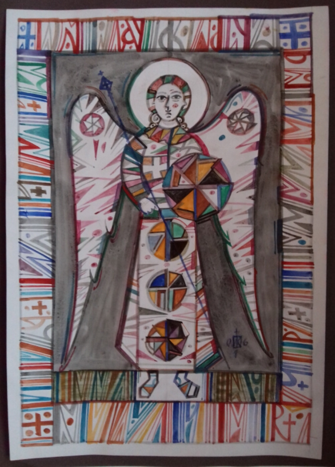 Igor Vasilyevich Kislitsyn. Angel on a gray background