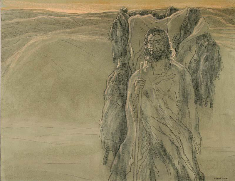 Myud Maryevich Mechev. Going to Jerusalem. From a series of illustrations for the gospel