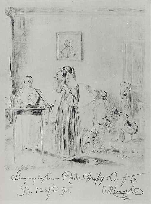Адольф фон Менцель. Два причесывающиеся девушки