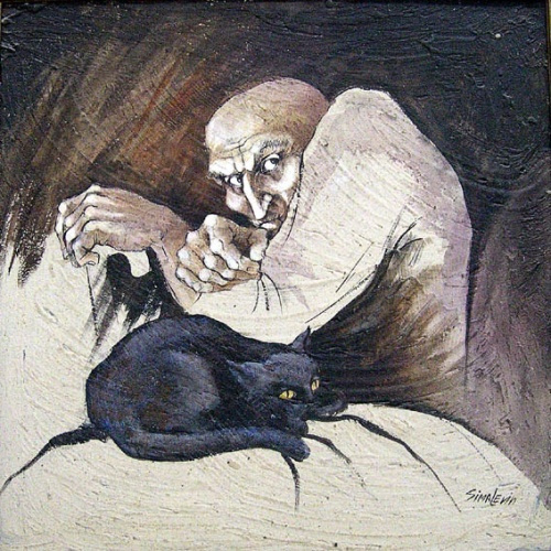 Sima Isakovna Levin (Fiterman). Old man with a cat