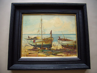 Unknown artist. Spanish seascape with fishing boats.