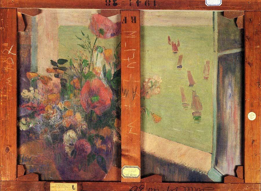 Поль Гоген. Букет цветов с открытым окном к морю