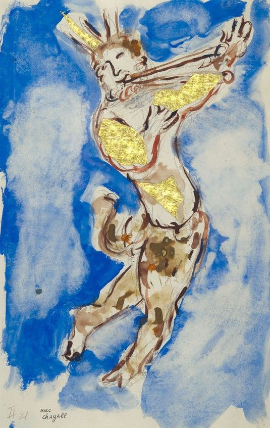 """Marc Chagall. Costume design pan for the ballet """"Daphnis and Chloe"""""""