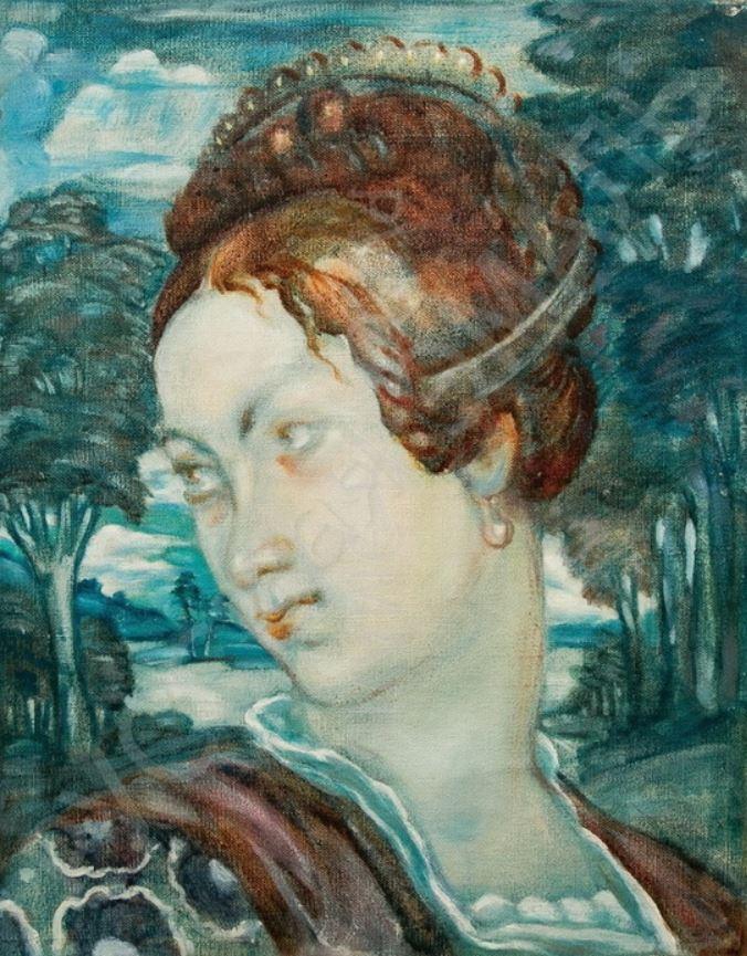 Ivan Ivanovich Zakharov. Female portrait. Lady in the pearls.
