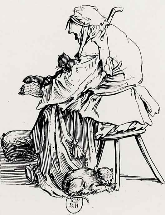 Jacques Kallo. The old woman with the cat
