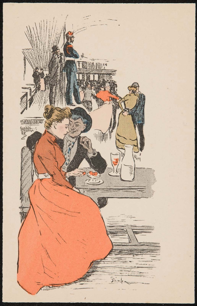 Theophile-Alexander Steinlen. Couple in a cafe under the open sky